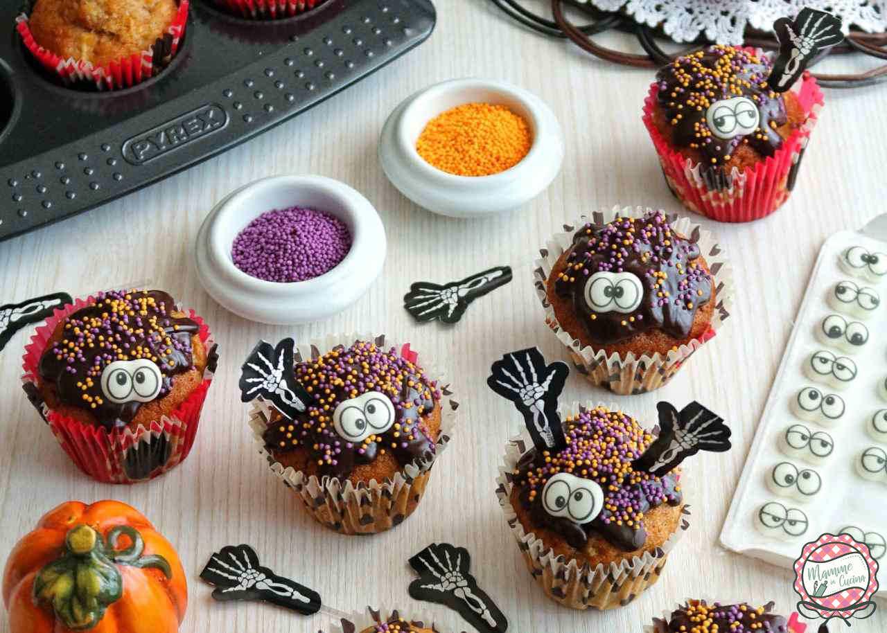 Muffin di Halloween zucca, mela, cannella.
