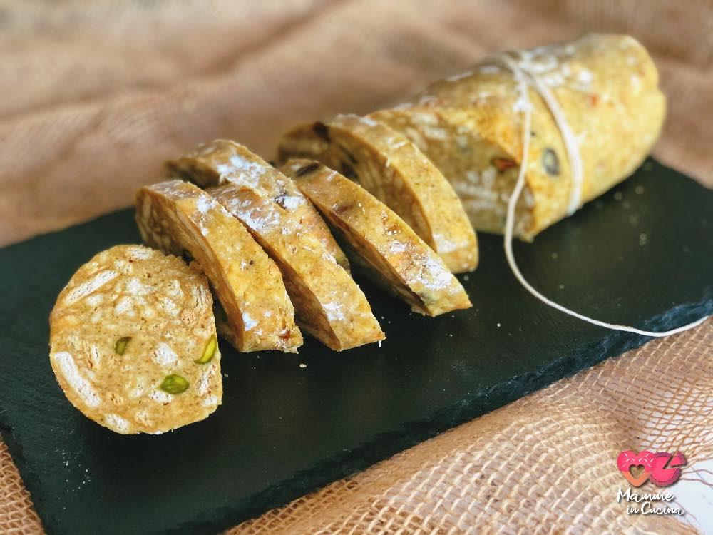 Salame di pistacchio, facile, veloce, senza cottura!