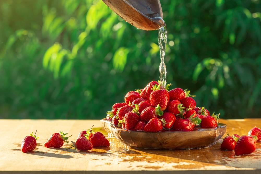 bagnare fragole con acqua e aceto