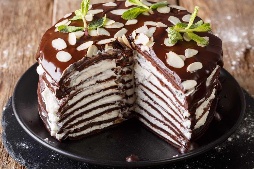 Torta di crepes al cioccolato light